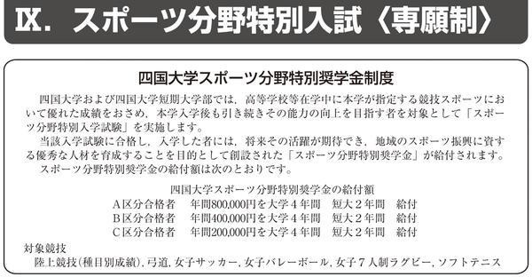 平成30年度入学試験 スポーツ分野特別入試(Ⅲ期)について